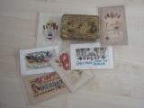 silk cards and tin box (donation Andy Bish)