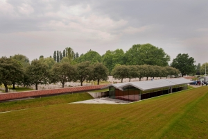 view on Lijssenthoek Military Cemetery and visitor centre